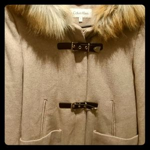 Calvin Klein Jackets Amp Coats Sale Ck Taupe Wool Belted